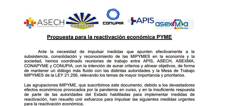 Propuesta re activación económica gremios PYME