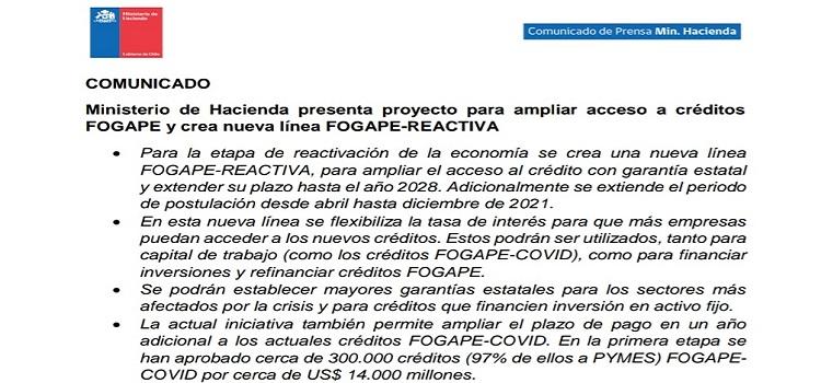 Proyecto de ley para ampliar Fogape y ampliar coberturas